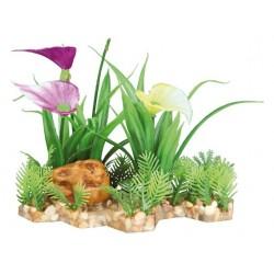 Plastikowa roślina w żwirowym podłożu 13cm